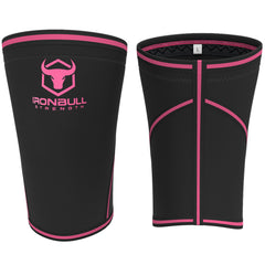 black-pink iron bull strength 7mm knee sleeves front and back