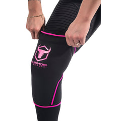 black-pink knee support sleeves how to put on