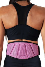pink padded squat and powerlifting belt