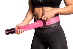 black-pink women weight lifting belt fit adjustable size