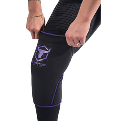 black-purple knee support sleeves how to put on