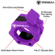 purple green nylon barbell collar features