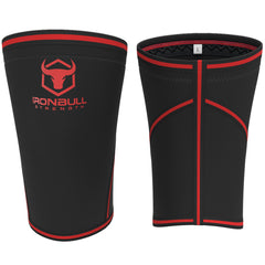 black-red iron bull strength 7mm knee sleeves front and back