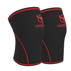 black-red iron bull strength 7mm knee sleeves side view