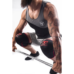 black-red knee sleeves used for deadlift