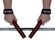 black-red lifting straps improves your grip on barbell