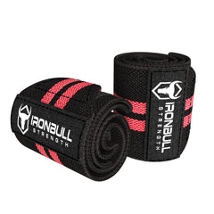 black-red wrist wraps for weight lifting