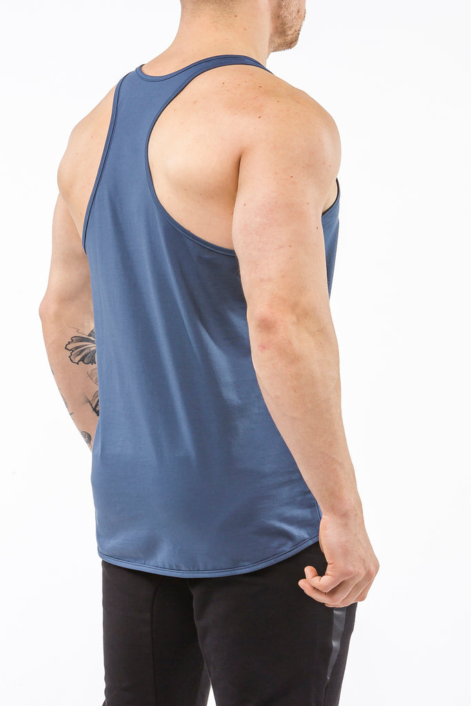 navy-blue gym stringer sportswear Y back side