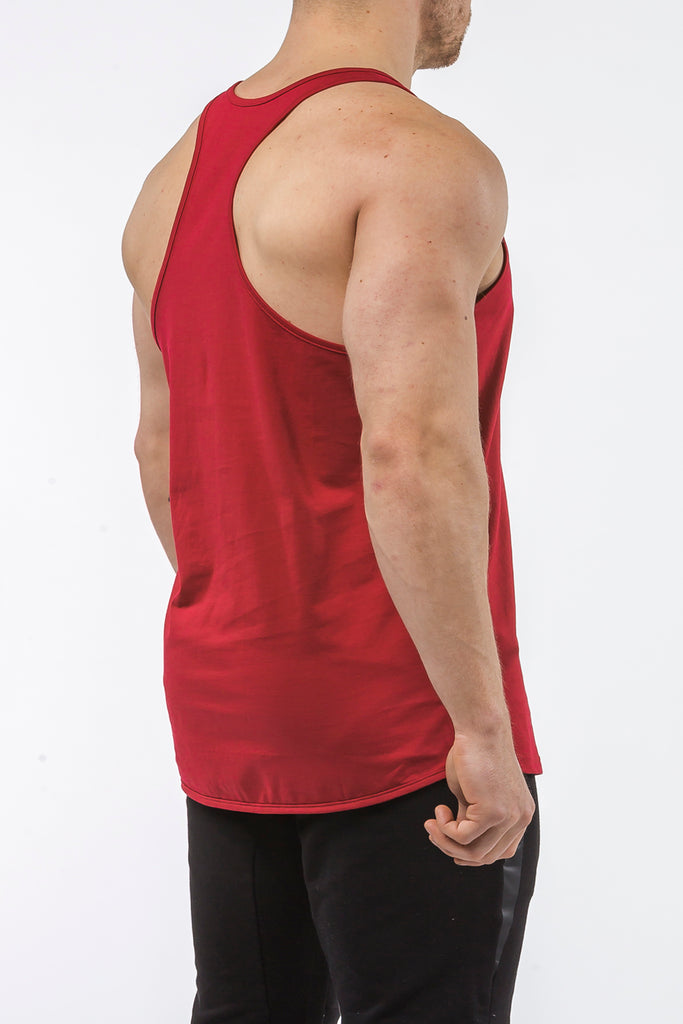 burgundy gym stringer sportswear Y back side