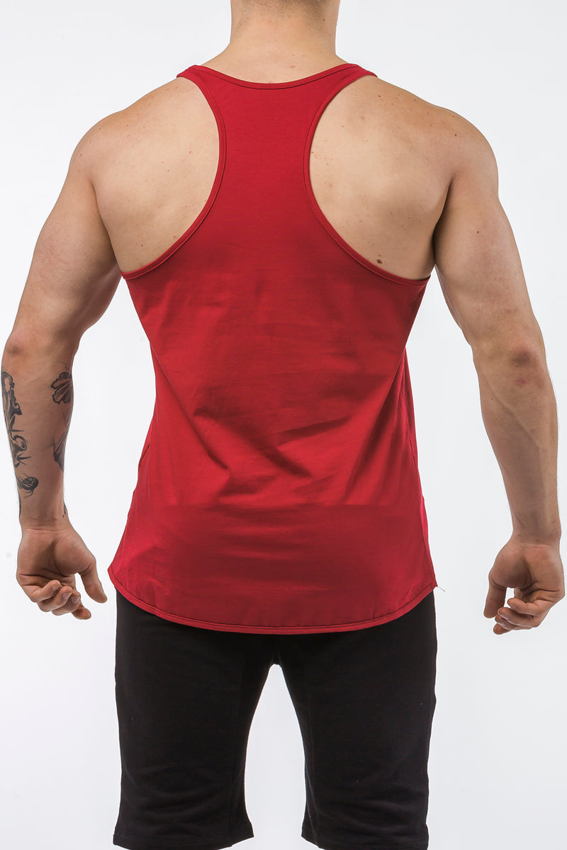 burgundy gym tank top classic dry-fit back