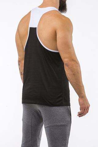 black-white gym stringer sportswear back side