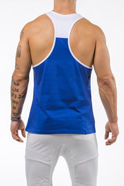 blue-white gym tank top unleash the beast back