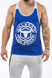 blue-white workout muscle stringer iron bull strength front