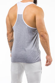 gray-white gym stringer sportswear back side