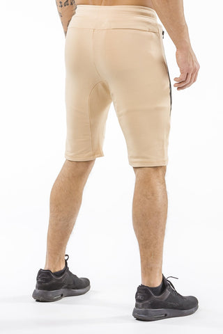 tan tapered fit shorts for fitness