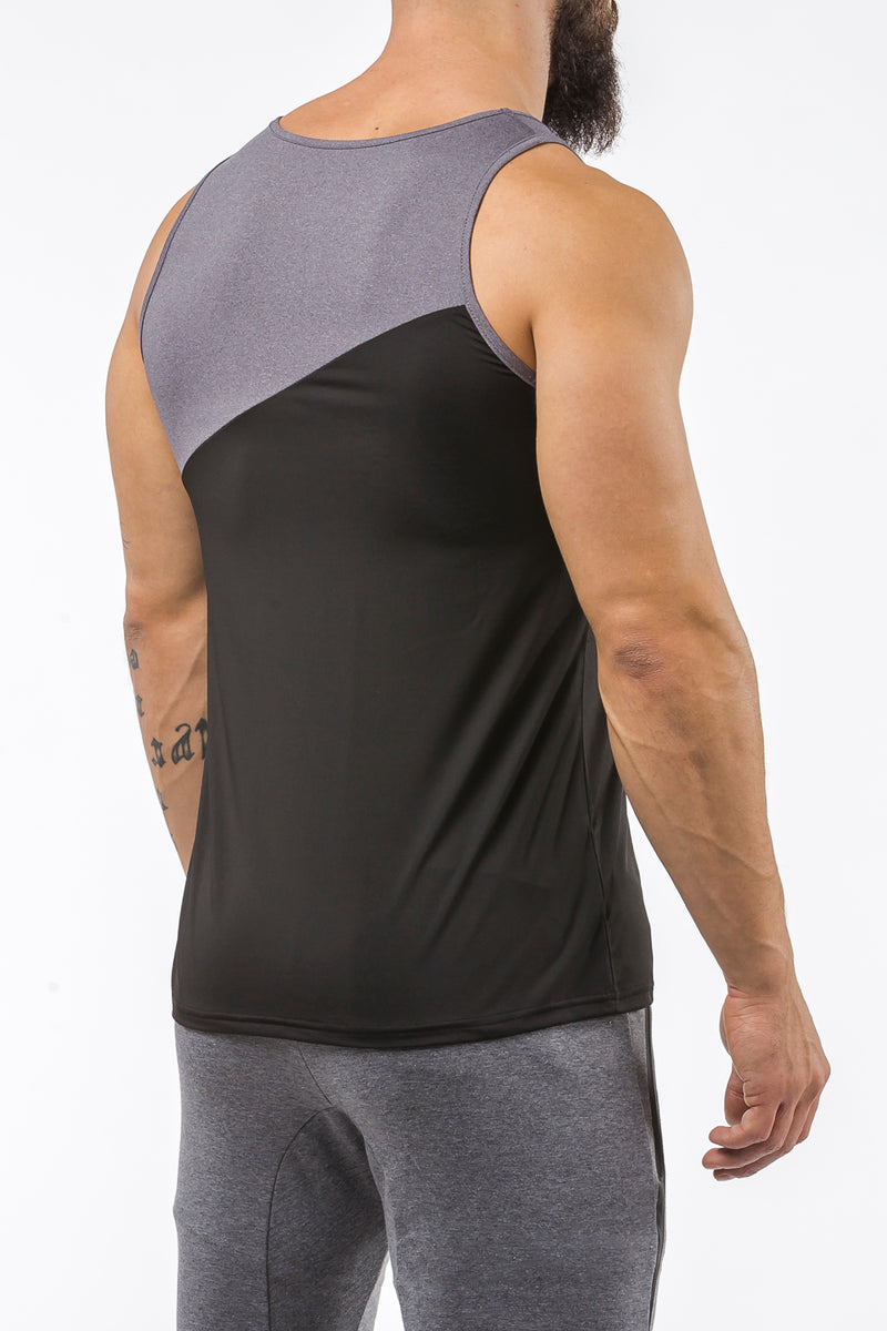 black-gray gym best breathable tank top dry-fit