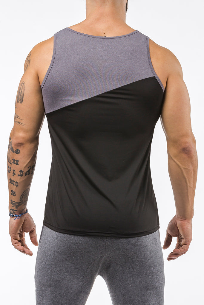 black-gray gym training tank top stretch polyester