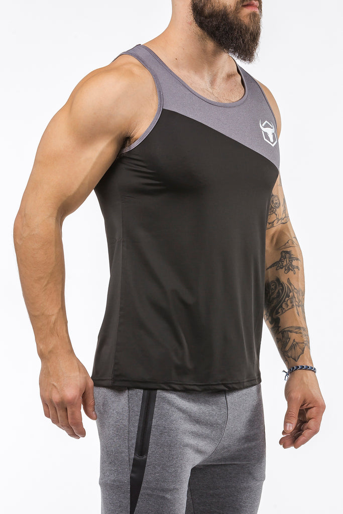 black-gray workout performance comfortable tank top
