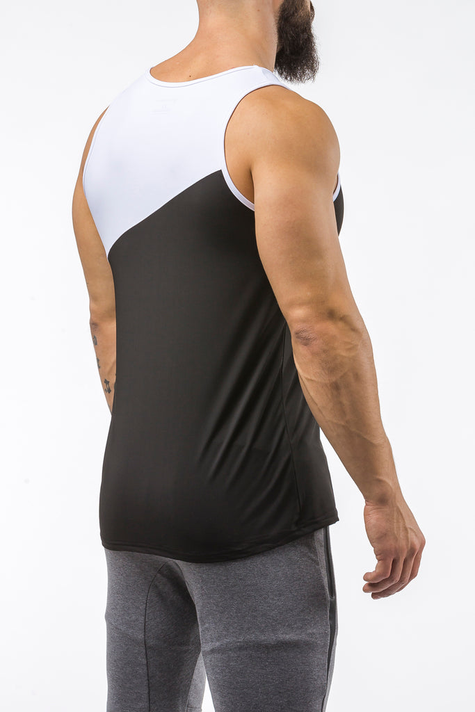 black-white gym best breathable tank top dry-fit