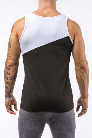 black-white gym training tank top stretch polyester