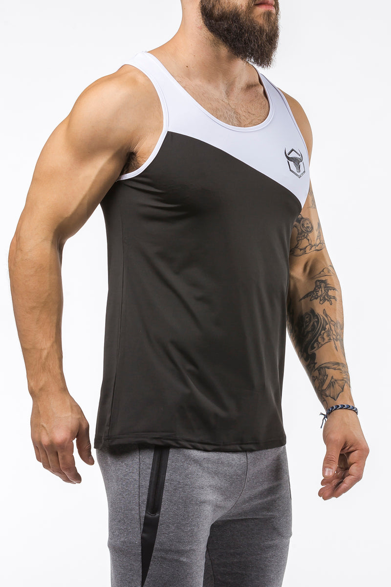black-white workout performance comfortable tank top