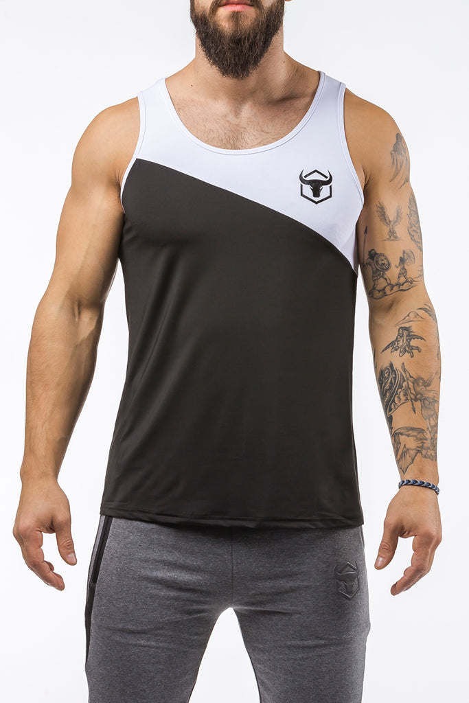 black-white workout performance fit tank top casual wear