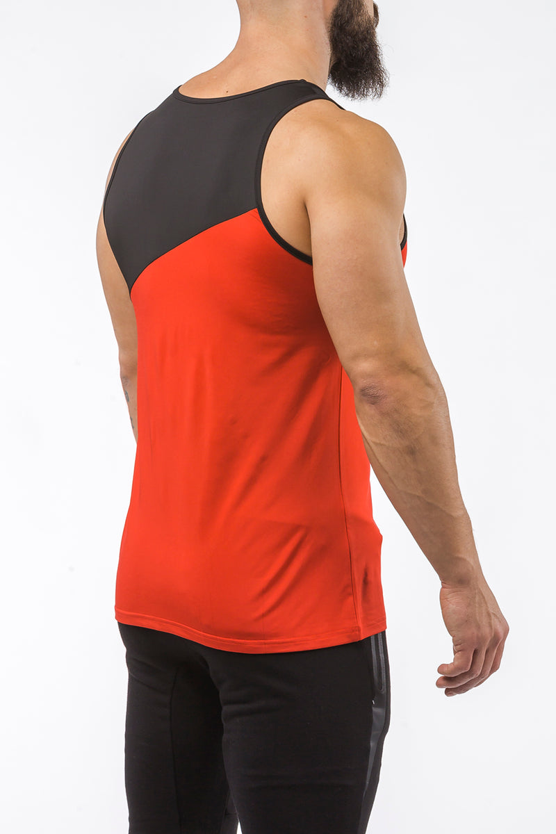 red-black gym best breathable tank top dry-fit
