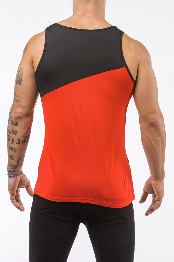 red-black gym training tank top stretch polyester