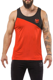 red-black workout performance fit tank top casual wear