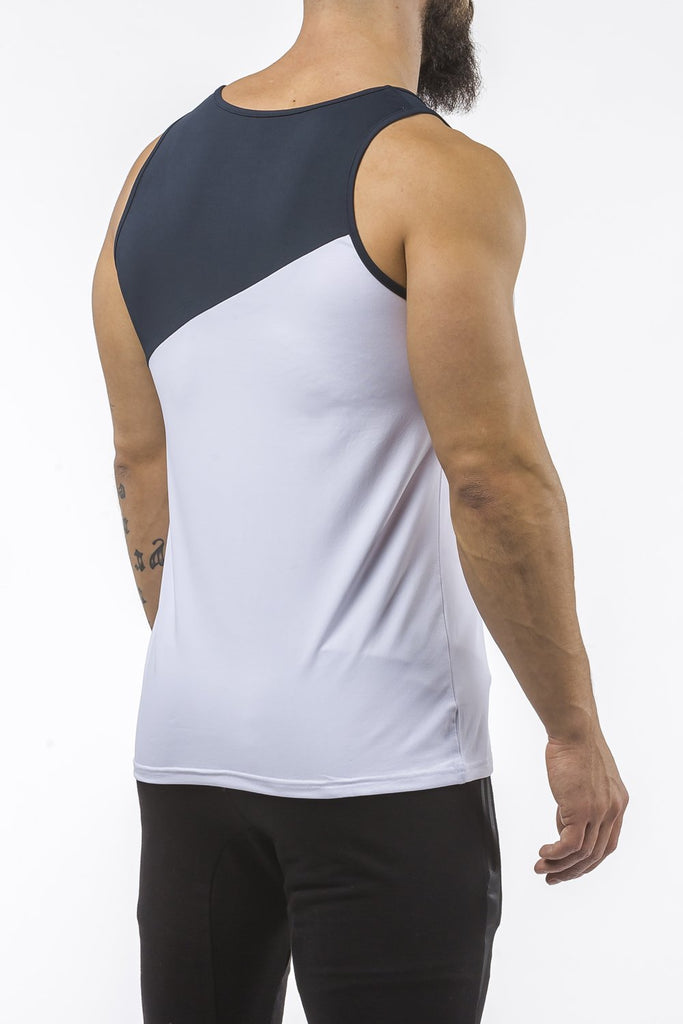 white-navy-blue gym best breathable tank top dry-fit
