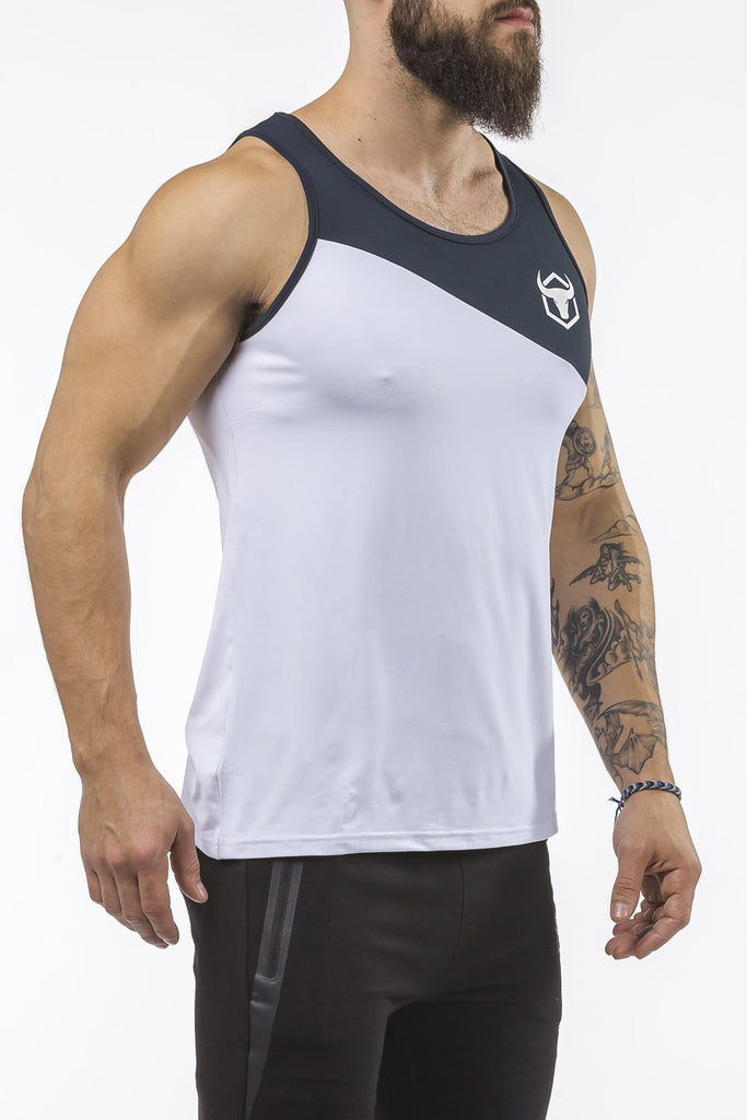 white-navy-blue workout performance comfortable tank top