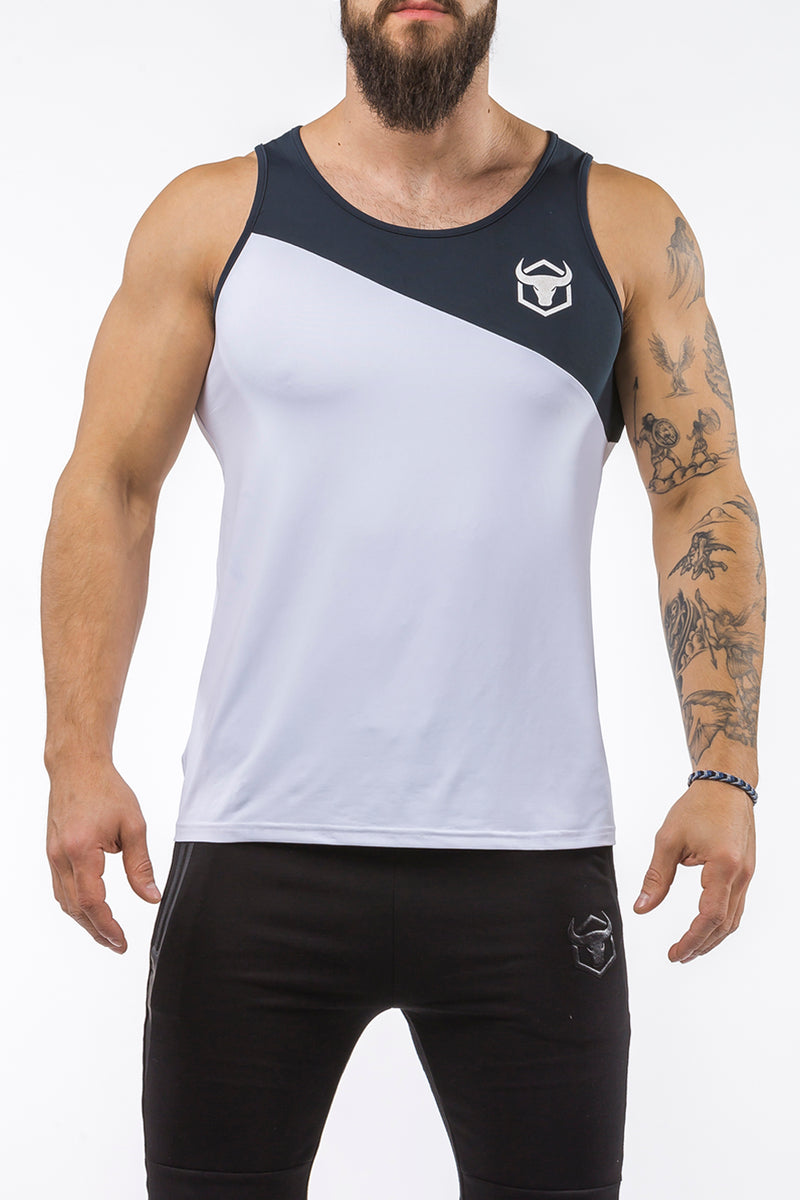 white-navy-blue workout performance fit tank top casual wear