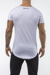 white gray gym t-shirt scoop neck stretch cotton