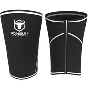 black-white iron bull strength 7mm knee sleeves front and back