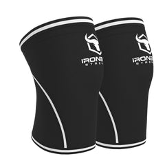 black-white iron bull strength 7mm knee sleeves side view