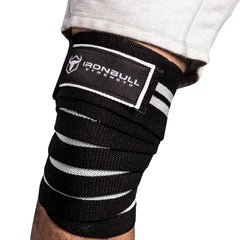 black-white iron bull strength knee support wraps