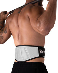 white padded squat and powerlifting belt
