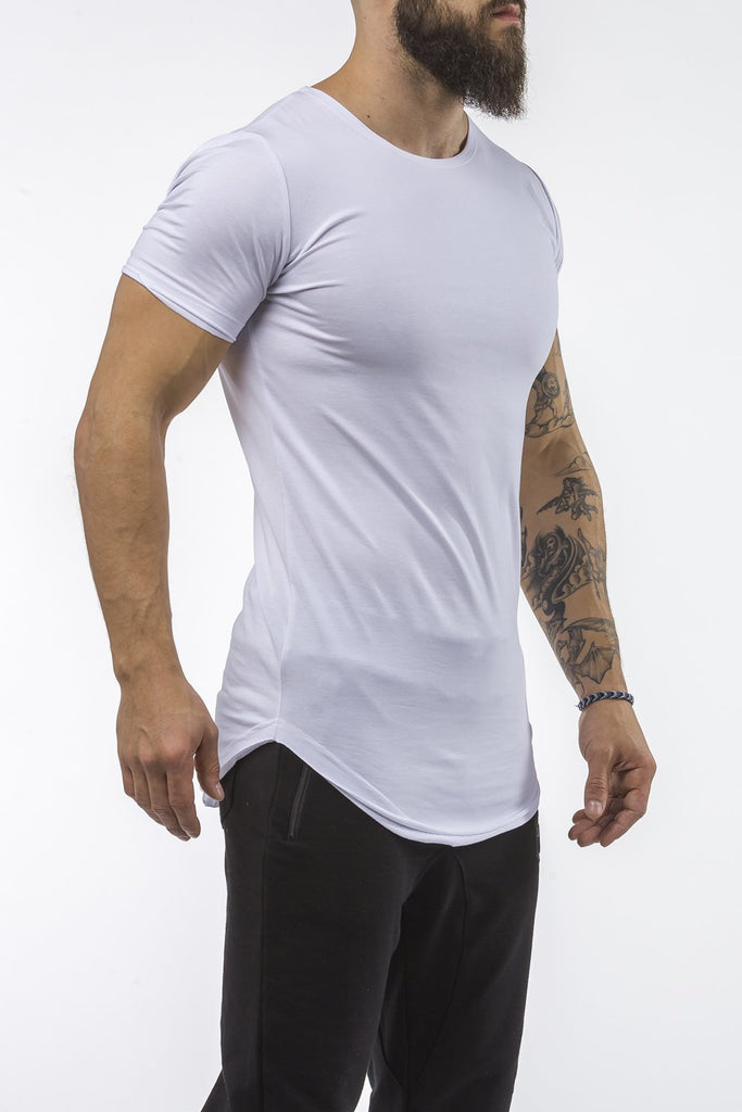 white workout t-shirt o-neck comfortable shirt