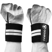 black-white wrist support wraps with thumb loop