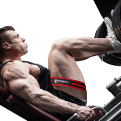 wide blood flow restriction band on leg press
