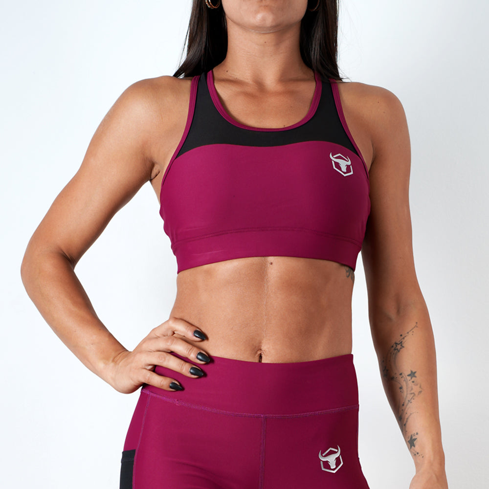 burgundy women ultra soft stretchy support mesh top sports bra