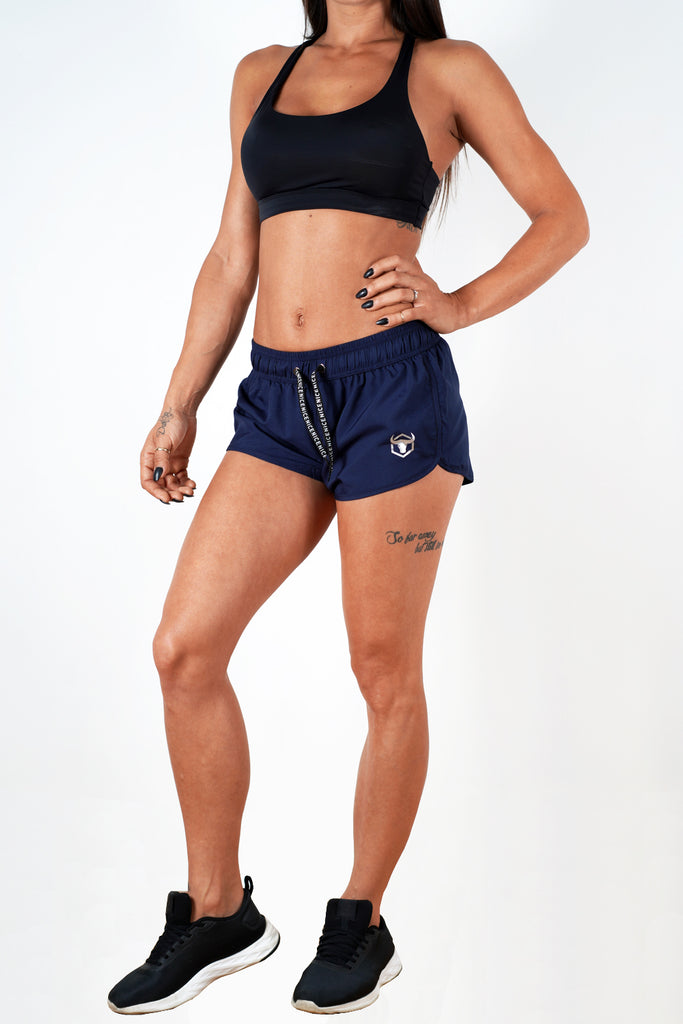 navy-blue polyester blend women shorts performance series