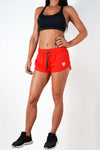 red polyester blend women shorts performance series