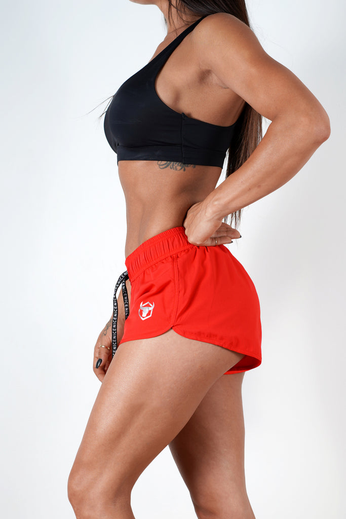 red quick dry breathable women shorts performance series