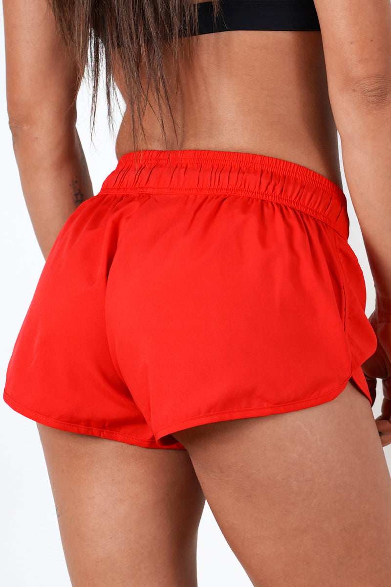red mid rise cut women shorts performance series