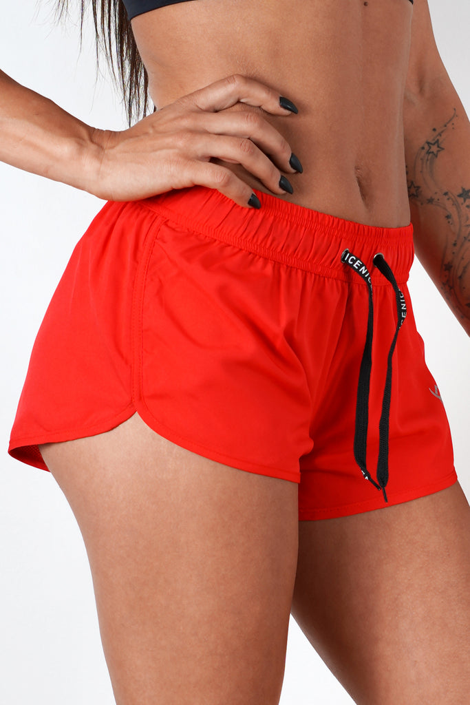 red women shorts with good mobility and range of motion