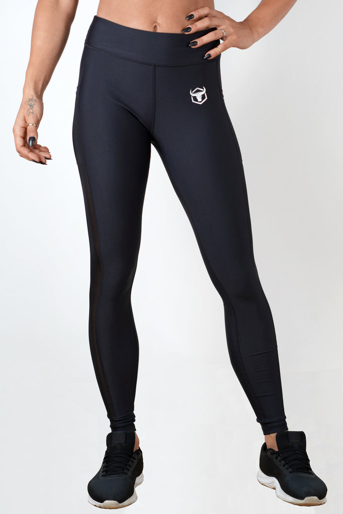 black polyester spandex blend women side mesh leggings