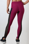 burgundy breathable soft women side mesh leggings