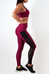 burgundy stretchy women side mesh workout leggings