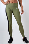khaki polyester spandex blend women side mesh leggings